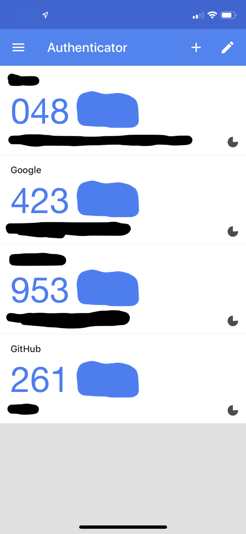 Picture of the Google Authenticator app on a mobile phone displaying the first 3 numbers of several OTPs. A timer for each OTP indicates the usage of OATH-TOTP.